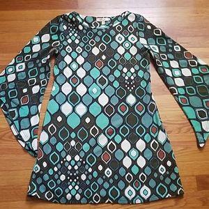 Long Sleeve Retro Geometric Dress
